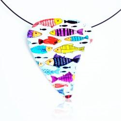 Pendentif poissons multicolores