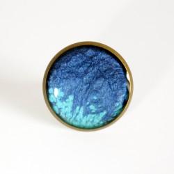 Bague turquoise et bleue en peinture nacrée