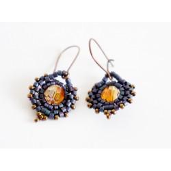 Boucles d'oreilles oranges et violettes en perles