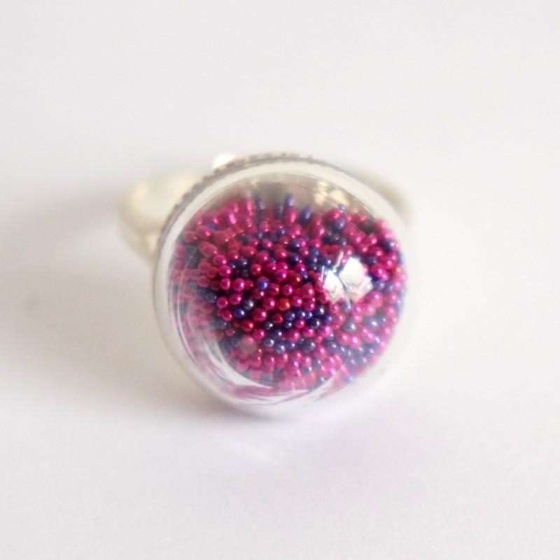 Bague rose et violette en microperles