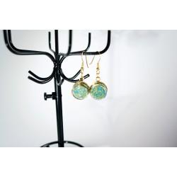 Boucles d'oreilles en microperles vertes / turquoises et or