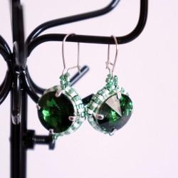 Boucles d'oreilles vertes rondes en perles de cristal et délicas