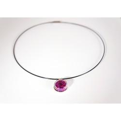 Pendentif en microbilles violettes et roses