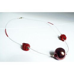 Collier mi-long rouge