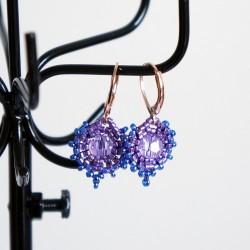 Boucles d'oreille rondes bleues et violettes
