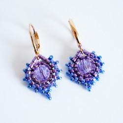 Boucles d'oreilles rondes bleues et violettes