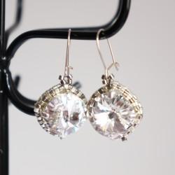 Boucles d'oreille fantaisie en cristal transparent et argent