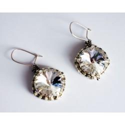 Boucles d'oreilles fantaisie en cristal transparent et argent