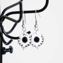 """Boucles d'oreilles rondes """"noir et blanc"""""""