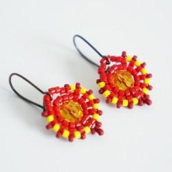 Boucles d'oreille rondes jaunes et rouges